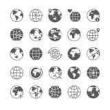 Τα εικονίδια σφαιρών θέτουν τα εικονίδια Διαδίκτυο σκιαγραφιών χαρτών σφαιρών παγκόσμιας γης σφαιρικό διάνυσμα τουρισμού εικονιδί ελεύθερη απεικόνιση δικαιώματος