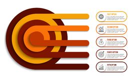 Τα εικονίδια σχεδίου και μάρκετινγκ Infographic μπορούν να χρησιμοποιηθούν για το σχεδιάγραμμα ροής της δουλειάς, διάγραμμα, ετήσ Στοκ φωτογραφίες με δικαίωμα ελεύθερης χρήσης