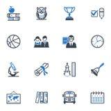 Τα εικονίδια σχολείου και εκπαίδευσης, θέτουν 3 - μπλε σειρά Στοκ εικόνες με δικαίωμα ελεύθερης χρήσης