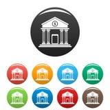 Τα εικονίδια τραπεζών χρημάτων καθορισμένα το χρώμα διανυσματική απεικόνιση