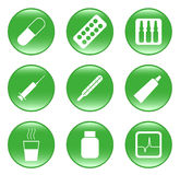 τα εικονίδια φαρμάκων κο&u Στοκ Εικόνα