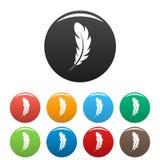 Τα εικονίδια φτερών μανδρών καθορισμένα το χρώμα ελεύθερη απεικόνιση δικαιώματος
