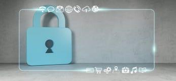 Τα εικονίδια Cadena στο εσωτερικό με τον Ιστό διασυνδέουν την τρισδιάστατη απόδοση Στοκ Εικόνα
