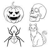 Τα εικονίδια αποκριών θέτουν: κολοκύθα, κρανίο, αράχνη, γάτα Στοκ Εικόνες