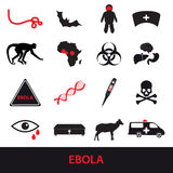 Τα εικονίδια ασθενειών Ebola καθορισμένα eps10 Στοκ εικόνα με δικαίωμα ελεύθερης χρήσης