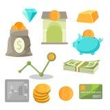 Τα εικονίδια επένδυσης χρημάτων επιχειρησιακών προτερημάτων θέτουν τα διαμάντια, χρυσός, piggy, ασφαλή ελεύθερη απεικόνιση δικαιώματος