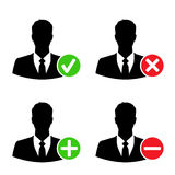 Τα εικονίδια επιχειρηματιών με προσθέτουν, διαγράφουν, δέχονται & εμποδίζουν τα σημάδια Στοκ Εικόνα