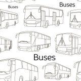 Τα εικονίδια λεωφορείων καθορισμένα το σχέδιο Στοκ Εικόνες