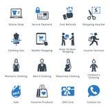 Τα εικονίδια ηλεκτρονικού εμπορίου θέτουν 1 - μπλε σειρά Στοκ φωτογραφία με δικαίωμα ελεύθερης χρήσης