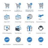Τα εικονίδια ηλεκτρονικού εμπορίου θέτουν 2 - μπλε σειρά Στοκ εικόνα με δικαίωμα ελεύθερης χρήσης