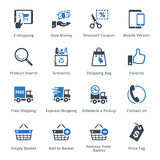 Τα εικονίδια ηλεκτρονικού εμπορίου θέτουν 4 - μπλε σειρά Στοκ Φωτογραφία