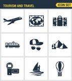 Τα εικονίδια θέτουν την εξαιρετική ποιότητα της μεταφοράς ταξιδιού τουρισμού, ταξίδι στο ξενοδοχείο θερέτρου Στοκ φωτογραφία με δικαίωμα ελεύθερης χρήσης