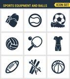 Τα εικονίδια θέτουν την εξαιρετική ποιότητα του αθλητικού εξοπλισμού και την ένδυση, διάφορες σφαίρες τύπων Στοκ Εικόνα