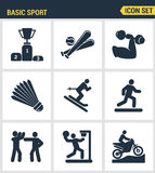 Τα εικονίδια θέτουν την εξαιρετική ποιότητα του βασικού αθλητισμού και την αθλητική ανάπτυξη της αθλητικής κατάρτισης Σύγχρονο ει Στοκ Εικόνα