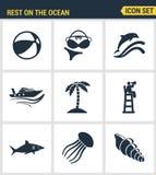 Τα εικονίδια θέτουν την εξαιρετική ποιότητα του υπολοίπου στο ωκεάνιο καλοκαίρι διακοπών αναψυχής ταξιδιού κολύμβησης Σύγχρονο επ Στοκ φωτογραφία με δικαίωμα ελεύθερης χρήσης