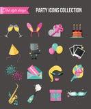 Τα εικονίδια διακοπών και κομμάτων θέτουν με τα ζωηρόχρωμα μπαλόνια, κέικ, πρόσκληση, κιβώτιο δώρων Επίπεδο σχέδιο ύφους επίσης c Στοκ φωτογραφία με δικαίωμα ελεύθερης χρήσης