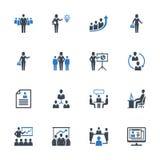 Τα εικονίδια διοίκησης επιχειρήσεων θέτουν 1 - μπλε σειρά Στοκ Φωτογραφία