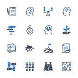 Τα εικονίδια διοίκησης επιχειρήσεων θέτουν 3 - μπλε σειρά Στοκ φωτογραφία με δικαίωμα ελεύθερης χρήσης