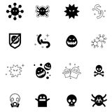 Τα εικονίδια ιών καθορισμένα τη διανυσματική απεικόνιση Στοκ Εικόνα