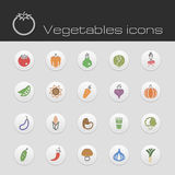 Τα εικονίδια καθορισμένα τα λαχανικά Στοκ Φωτογραφίες