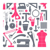 Τα εικονίδια καθορισμένα τα εργαλεία ραψίματος και χόμπι Στοκ φωτογραφία με δικαίωμα ελεύθερης χρήσης