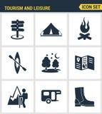 Τα εικονίδια καθορισμένα την εξαιρετική ποιότητα της υπαίθριων δραστηριότητας αναψυχής και του τουρισμού πεζοπορίας Στοκ Εικόνες