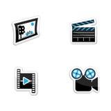 Τα εικονίδια καθορισμένα τις φωτογραφίες, τα βίντεο και τα θέματα κινηματογράφων διανυσματική απεικόνιση
