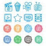 Τα εικονίδια καθορισμένα τον κινηματογράφο doodles διανυσματική απεικόνιση