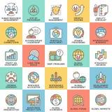 Τα εικονίδια καθορισμένα το παγκόσμια επιχειρηματικό πεδίο, τα οικονομικά και το μάρκετινγκ απεικόνιση αποθεμάτων