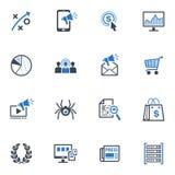 Τα εικονίδια μάρκετινγκ SEO & Διαδικτύου θέτουν 3 - μπλε σειρά Στοκ Εικόνα