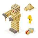 Τα εικονίδια μουμιών αποκριών καθορισμένα τη Σαρκοφάγο Ankh πυραμίδων απεικόνιση αποθεμάτων