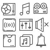 Τα εικονίδια μουσικής καθορισμένα το σχέδιο γραμμών διανυσματική απεικόνιση