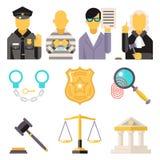 Τα εικονίδια νόμου δικαστηρίων καθορισμένα την έννοια συμβόλων δικαιοσύνης επάνω διανυσματική απεικόνιση