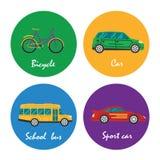 Τα εικονίδια οδικών μεταφορών καθορισμένα την απεικόνιση Στοκ Φωτογραφία