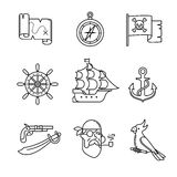Τα εικονίδια πειρατών λεπταίνουν το σύνολο τέχνης γραμμών Στοκ Φωτογραφίες