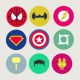 Τα εικονίδια, περίληψη, για τα superheroes και Στοκ Εικόνες
