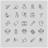 Τα εικονίδια περιλήψεων θέτουν - ενισχύσεις, HIV, θεραπεία, καιροσκοπική ασθένεια, θεραπεία Στοκ φωτογραφία με δικαίωμα ελεύθερης χρήσης