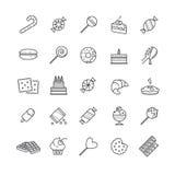 Τα εικονίδια περιλήψεων θέτουν - καραμέλα, κέικ, μπισκότα, γλυκό, παγωτό Στοκ Εικόνα
