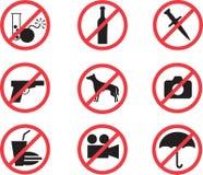 Τα εικονίδια που απαγορεύουν το σύνολο Στοκ φωτογραφίες με δικαίωμα ελεύθερης χρήσης