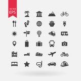 τα εικονίδια που τίθενται το ταξίδι τουρισμός σημαδιών συλλ& Σύμβολα διακοπών στο άσπρο υπόβαθρο Επίπεδο ύφος σχεδίου Στοκ εικόνες με δικαίωμα ελεύθερης χρήσης