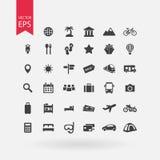 τα εικονίδια που τίθενται το ταξίδι τουρισμός σημαδιών συλλ& Σύμβολα διακοπών στο άσπρο υπόβαθρο Επίπεδο ύφος σχεδίου Στοκ φωτογραφία με δικαίωμα ελεύθερης χρήσης