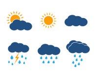 τα εικονίδια που τίθεντ&alpha Ήλιος, σύννεφα, βροχή, αστραπή Απεικόνιση αποθεμάτων