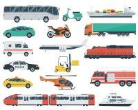 τα εικονίδια που τίθεντ&alpha Μεταφορά αυτοκινήτων και οχημάτων πόλεων Αυτοκίνητο, σκάφος, αεροπλάνο, τραίνο, μοτοσικλέτα, ελικόπ Στοκ εικόνα με δικαίωμα ελεύθερης χρήσης