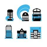 Τα εικονίδια πλημμυρών και τσουνάμι καθορισμένα τα σπίτια Πλημμύρα των κτηρίων απεικόνιση αποθεμάτων