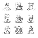 Τα εικονίδια ρυθμών επαγγελμάτων ανθρώπων λεπταίνουν το σύνολο τέχνης γραμμών Στοκ φωτογραφία με δικαίωμα ελεύθερης χρήσης