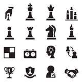 Τα εικονίδια σκακιού καθορισμένα τη διανυσματική απεικόνιση Στοκ Φωτογραφίες