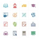 Τα εικονίδια σχολείου & εκπαίδευσης θέτουν 1 - χρωματισμένη σειρά Στοκ εικόνα με δικαίωμα ελεύθερης χρήσης