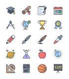 Τα εικονίδια σχολείου και εκπαίδευσης, χρώμα θέτουν 2 - διανυσματική απεικόνιση απεικόνιση αποθεμάτων