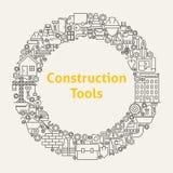 Τα εικονίδια τέχνης γραμμών εργαλείων κατασκευής καθορισμένα τον κύκλο Στοκ φωτογραφία με δικαίωμα ελεύθερης χρήσης