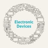 Τα εικονίδια τέχνης γραμμών ηλεκτρονικών συσκευών καθορισμένα τον κύκλο Στοκ Εικόνες